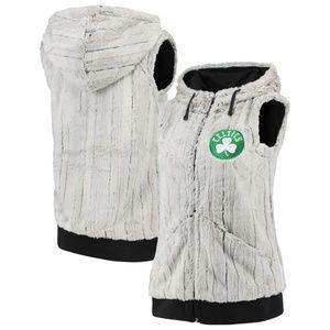 Hooded Faux Fur Celtics Vest
